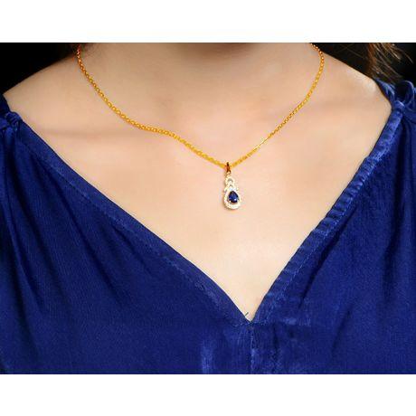 Ciondolo motivo Goccia in  Oro giallo - Zaffiro e Diamanti