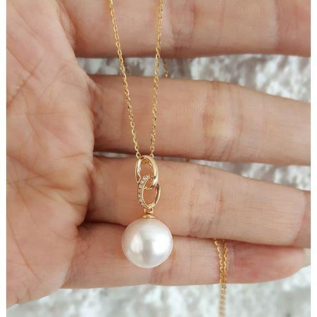 Ciondolo doppio anello - Oro giallo 18k - Perla d'acqua dolce bianca