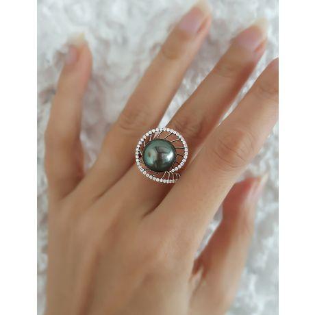 Anello oro bianco - Perla di Tahiti nera, verde - 11/12mm