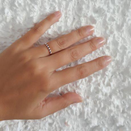 Anello con Diamanti e Zaffiri - Oro bianco 18 carati