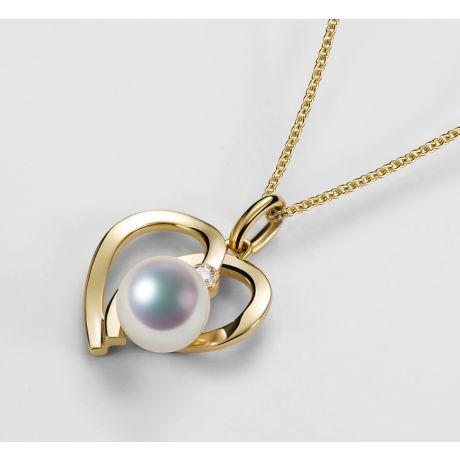 Ciondolo Chiaky. Cuore in Oro Giallo, Perla Akoya e Diamante