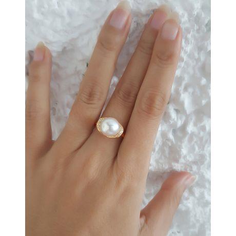Anello oro giallo, diamanti - Perla acqua dolce bianca - 10/11mm