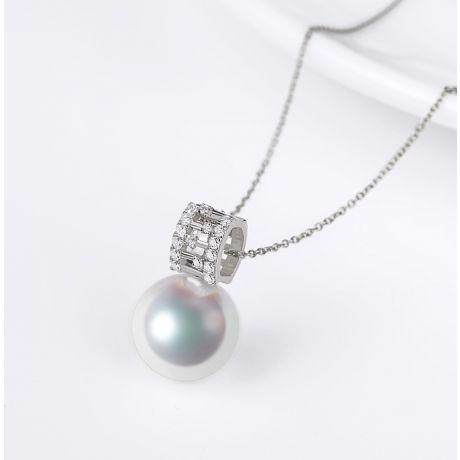 Ciondolo Mikiko perla Akoya del Giappone. Oro Bianco, Diamanti