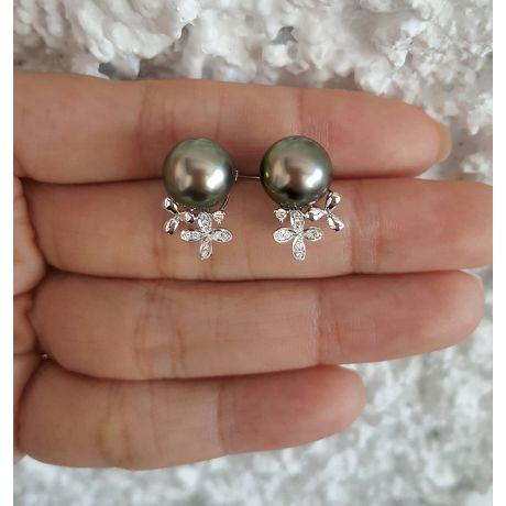 Orecchini perle di Tahiti - Motivo floreale, oro bianco