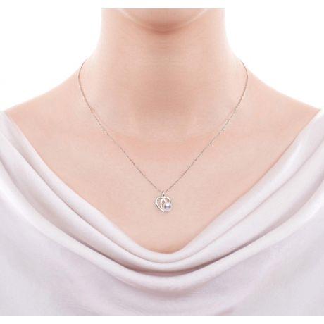 Ciondolo Chiaky. Cuore in Oro Bianco, Perla Akoya e Diamante