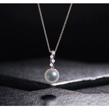Ciondolo perle Akoya del Giappone. Edera Oro Bianco e Diamanti