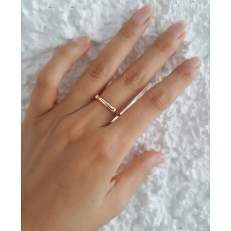 Anello bambù oro rosa 18ct - Anello lusso e diamanti
