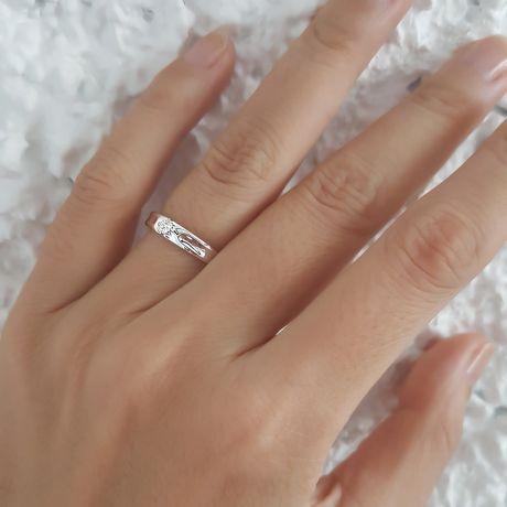 Fede Donna - Oro bianco 1.76gr - Diamante 0.068ct