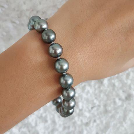 Braccialetto - Perle di Tahiti grigie, blu, bronzo - 9/10mm