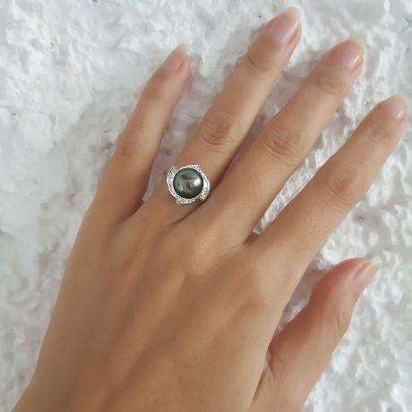 Anello oro bianco - Perla di Tahiti nera, verde, melanzana - 9.5/10mm