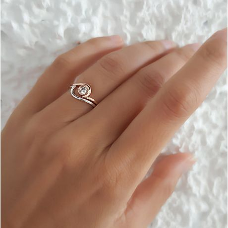Solitario con diamante contemporaneo - 2 anelli oro rosa e bianco