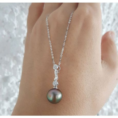 Ciondolo oro bianco - Perla di Tahiti nera, verde - 9/9.5mm