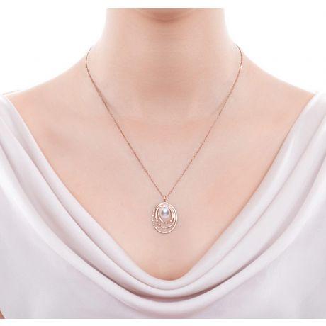 Ciondolo Kaneo. Oro Rosa, Perle Akoya del Giappone, Diamanti