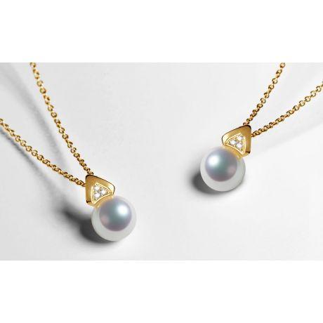 Ciondolo triangolare in perle Akoya del Giappone - Oro giallo e diamanti
