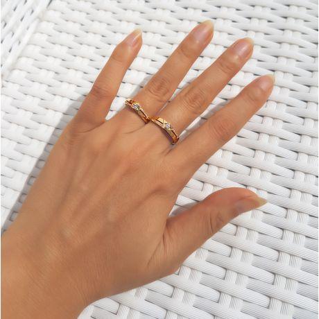 Fedi matrimonio, Fedine -  Oro giallo 6.6gr, Diamanti 0.277ct