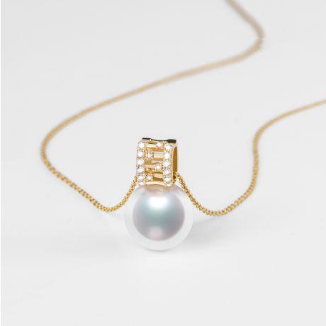 Ciondolo Mikiko perla Akoya del Giappone. Oro Giallo, Diamanti