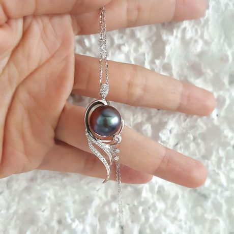 Ciondolo oro bianco - Perla di Tahiti nera, bronzo, melanzana - 12/13mm