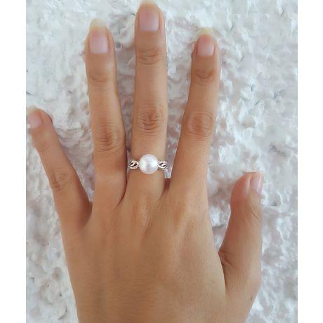 Anello oro bianco diamantato - Perla acqua dolce bianca - 9/10mm