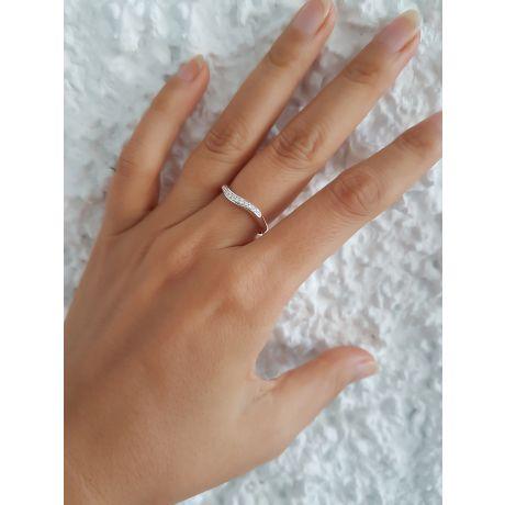 Fedi matrimonio, Fedine -  Oro bianco 6.50gr, Diamanti 0.104ct