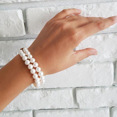 Braccialetto due fili perle d'acqua dolce bianche - 7/7.5mm, AAA