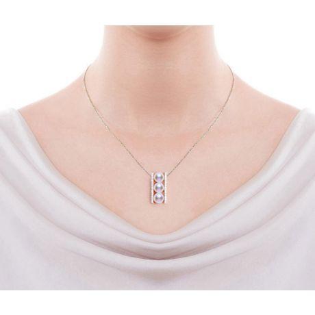 Parure Otohiko perle Akoya del Giappone. Oro bianco e Diamanti