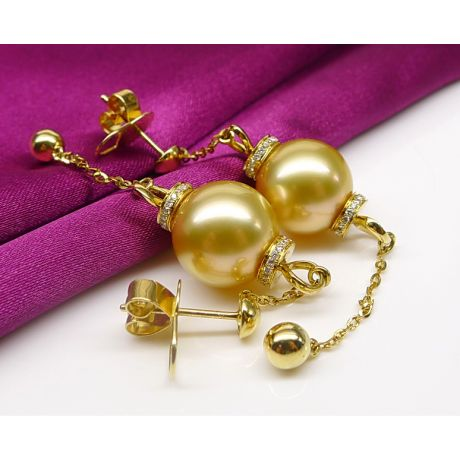 Orecchini Catenelle in Oro Giallo e perla d'Australia dorata. Diamanti