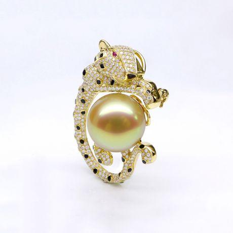 Ciondolo Leopardo oro giallo - Perla d'Australia dorata, diamanti e zaffiri