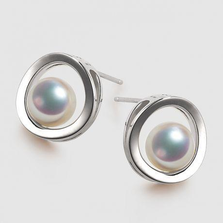 Orecchini perle Akoya - Himiko - Perla Giappone, Oro bianco