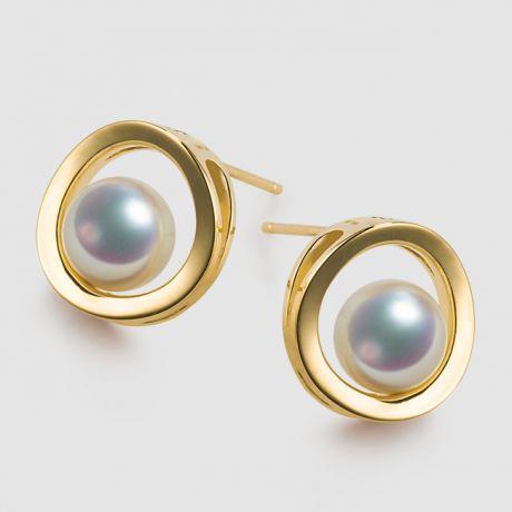 Orecchini perle Akoya - Himiko - Perla Giappone, Oro giallo