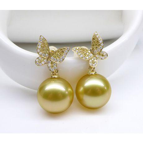 Orecchini Farfalla. Oro Giallo, Diamanti e Perle d'Australia dorate