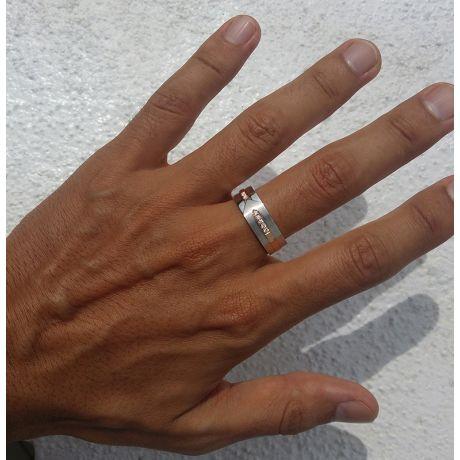 Anello Uomo - Oro bianco, rosa 8.80gr - Diamanti 0.120ct