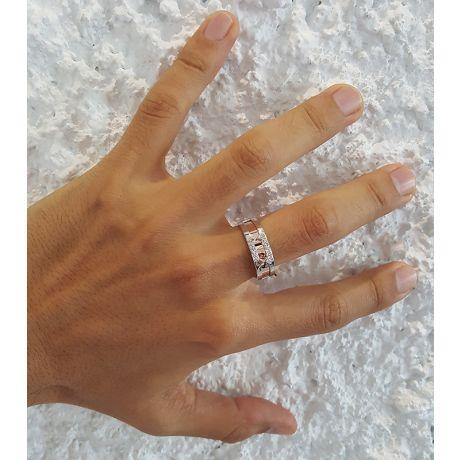 Anello Uomo - Oro bianco, rosa 7.20gr - Diamanti 0.075ct