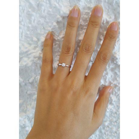 Anello Cuore solitario Donna - Oro bianco - Diamanti 0.190ct