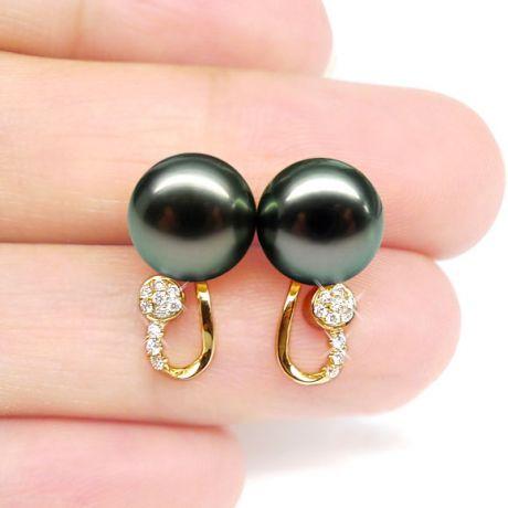Orecchini - Pendenti oro giallo -  Perle di Tahiti nere, verdi - 9/9.5mm