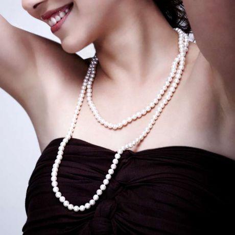 Collana di perle Akoya giapponesi bianche - 6.5/7mm, AA+