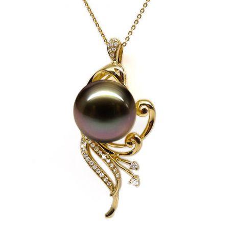 Ciondolo oro giallo - Perla di Tahiti nera, bronzo, melanzana - 12/13mm