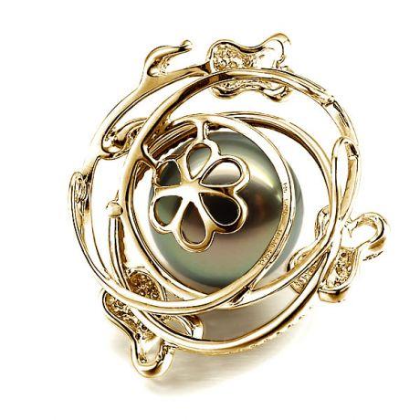 Ciondolo rose oro giallo - Perla di Tahiti nera, bronzo - 13/14mm