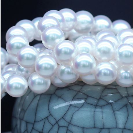 Collana di perle Akoya giapponesi bianche - 9/9.5mm, AAA / HANADAMA