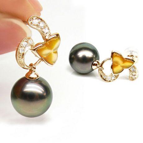 Orecchini - Pendenti oro giallo -  Perle di Tahiti nere, bronzo - 9/9.5mm