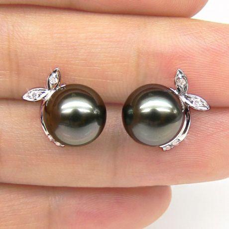Orecchini foglie - Farfallina oro bianco -  Perle di Tahiti nere, bronzo - 9/9.5mm
