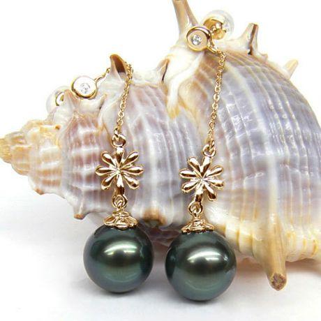 Orecchini fiori - Pendenti oro giallo - Perle di Tahiti nere, blu - 9/10mm