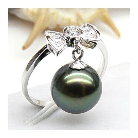 Anello fiocco oro bianco - Perla di Tahiti nera, verde - 9/10mm