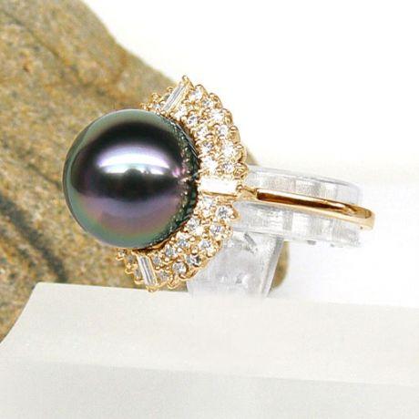 Anello oro giallo - Perla di Tahiti nera, pavone - 13/14mm