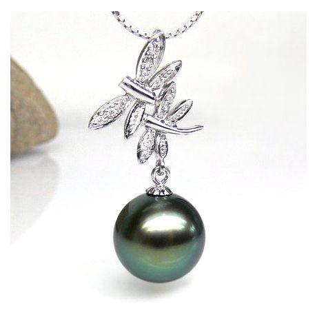 Ciondolo libellule oro bianco - Perla di Tahiti nera, blu - 11/12mm