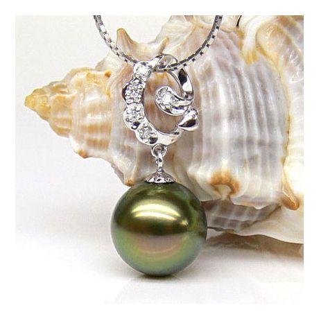 Ciondolo oro bianco - Perla di Tahiti nera, verde, oro - 10/11mm