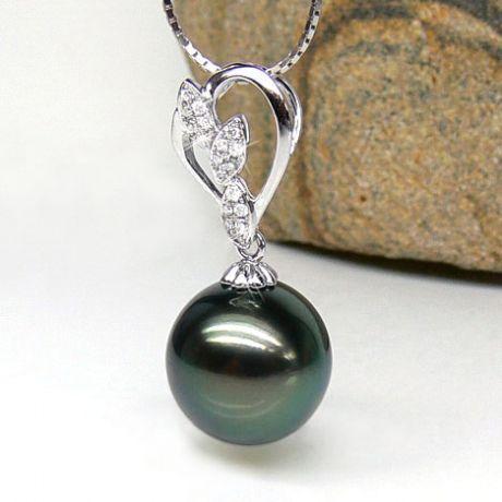 Ciondolo petali oro bianco - Perla di Tahiti nera, blu, verde - 13/14mm
