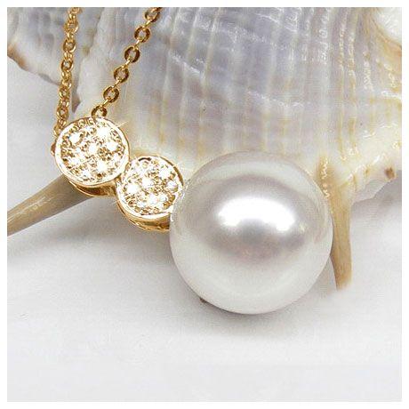 Ciondolo oro giallo - Perla d'Australia bianca, argento - 12/13mm