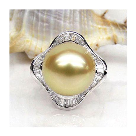Anello classico oro bianco - Perla d'Australia dorata - 11/12mm