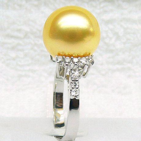 Anello oro bianco, diamanti - Perla d'Australia dorata - 12/13mm