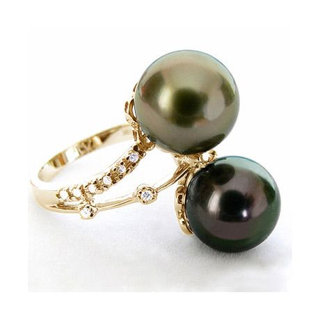Anello oro giallo - Perle di Tahiti nere, pavone, melanzana - 9.5/10mm